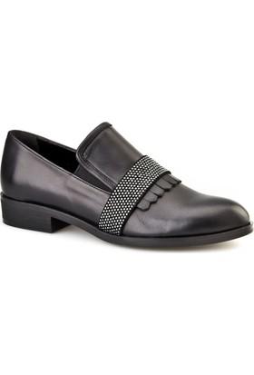 Cabani Taş Süslemeli Günlük Kadın Ayakkabı Siyah Analin Deri