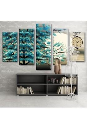 DekoratifMarket Tablo Saat 5 Parçalı Saatli Kanvas Tablo-Tsdm-10
