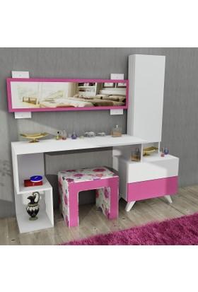 Pegai Magenta Aynalı Puflu Takı Dolaplı makyaj masası