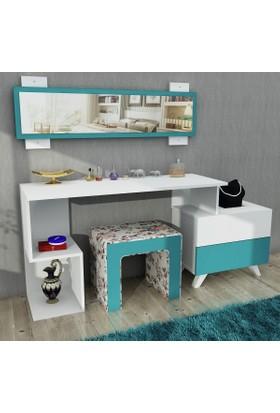 Pegai Felicia Aynalı Puflu makyaj masası