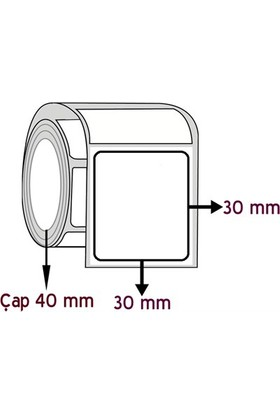 Barkodsarf Opak Pp 30 mm x 30 mm Barkod Etiketi Çap 40 mm (6 Rulo)
