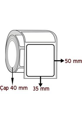 Barkodsarf Opak Pp 50 mm x 35 mm Barkod Etiketi Çap 40 mm (6 Rulo)
