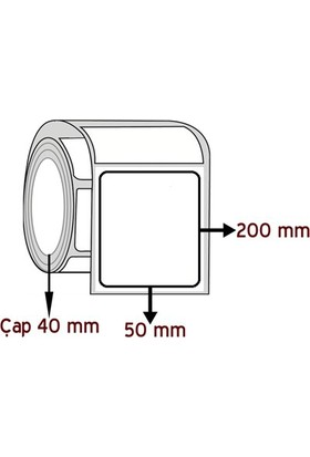 Barkodsarf Opak Pp 200 mm x 50 mm Barkod Etiketi Çap 40 mm (6 Rulo)