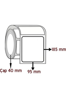 Barkodsarf Opak Pp 185 mm x 95 mm Barkod Etiketi Çap 40 mm (6 Rulo)