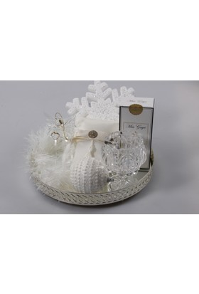 Miss Gaya Hediyelik Set Tepsi Yuvarlak-Aynalı-Gümüş Renk -28 Cm
