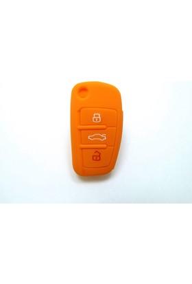 Gsk Audi Anahtar Kabı Koruyucu Kılıf 3 Tuş (Turuncu)