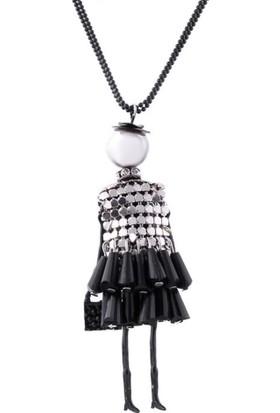 Modakedi Siyah Elbiseli Çocuk Figürlü Bayan Kolye