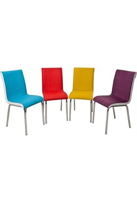 Osmanlı Mobilya 6 Adet Pedli Sandalye Gökkuşağı Renkler
