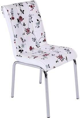 Osmanlı Mobilya 6 Adet Pedli Sandalye Lila Çiçek