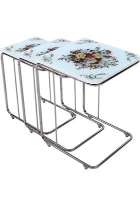 Osmanlı Mobilya 3Lü Cam Zigon Sehpa Çiçek Demeti