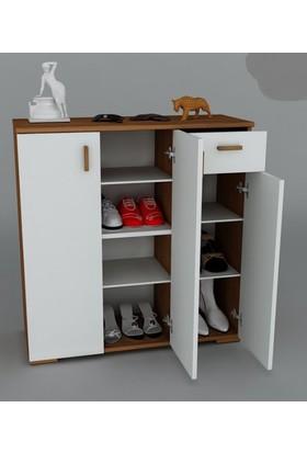 Osmanlı Mobilya Ceviz-Beyaz Geniş Model 3 Kapaklı Çekmeceli Ayakkabılık K-A53