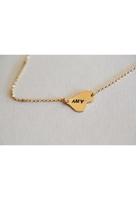 Affix Silver Gümüş Özel Tasarım İsimli Altın Renk Kalp Kolye