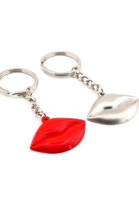 Solfera Kırmızı Gümüş Renk Dudaklar İkili Metal Anahtarlık Kc494