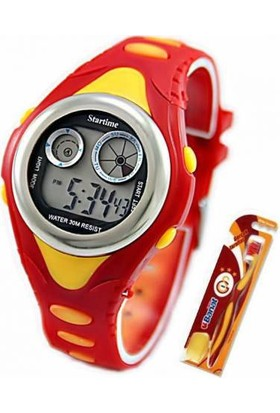 Mlps 30 Metre Su Geçirmez Sarı Kırmızı Erkek / Kız Çocuk Dijital Taraftar Kol Saati Ve Lisanslı Galatasaray Diş Fırçası
