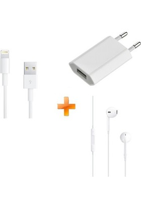 Apple Usb Adaptör + Lightning Data Kablosu 0,5Mt + Apple EarPods Kulaklık (iPhone 5/5s/SE/6/6s/7 / Plus / iPod / iPad)-(İthalatçı Garantili)