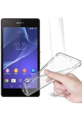 Fuqqa Sony Xperia Z2 Ekran Koruyucu + Şeffaf Silikon Kılıf