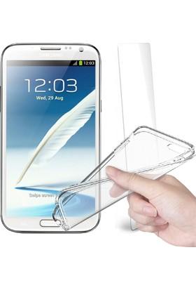 Fuqqa Samsung Galaxy Note 2 Ekran Koruyucu + Şeffaf Silikon Kılıf