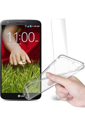 Fuqqa Lg G2 Ekran Koruyucu + Şeffaf Silikon Kılıf