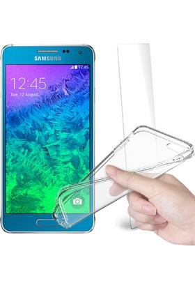 Fuqqa Samsung Galaxy Alpha Ekran Koruyucu + Şeffaf Silikon Kılıf
