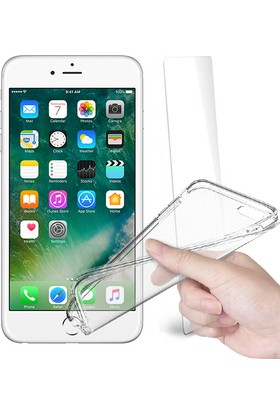 Fuqqa Apple İphone 6 Plus Ekran Koruyucu + Şeffaf Silikon Kılıf