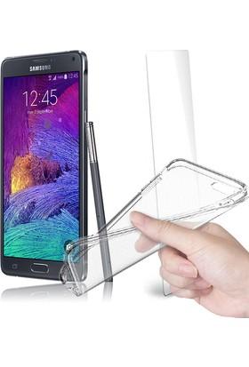 Fuqqa Samsung Galaxy Note 4 Ekran Koruyucu + Şeffaf Silikon Kılıf