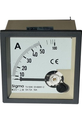 Sigma Analog Ampermetre 0-50 Amper Direkt 72X72 Mm Pano Tipi