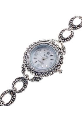 Akyüz Gümüş Markazit Taşlı Bayan Gümüş Saat Sa006