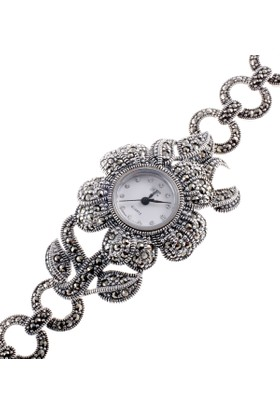 Akyüz Gümüş Hf Markazit Taşlı Bayan Gümüş Saat Sa018