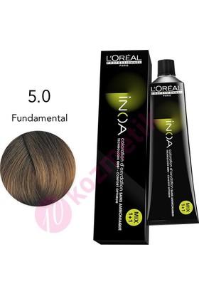 Loreal İnoa Amonyaksız Saç Boyası No: 5.0 Fundamental 60Ml.