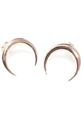 Nusret Takı 925 Ayar Gümüş Hilal Modeli Küpe, Pembe