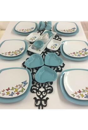 Keramika Dance Of Butterfly Turkuaz Kahvaltı Takımı