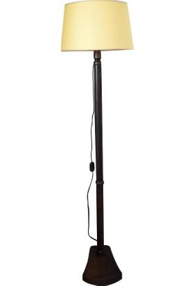 Masif Ayaklı Lambader Sarı Keten Şapka Ceviz Ayak K213
