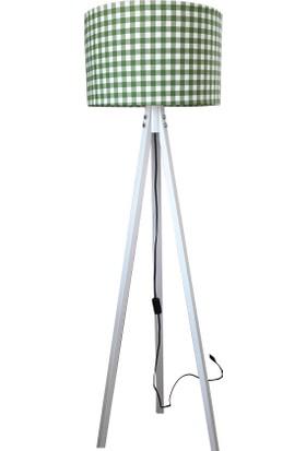 Düz 3 Ayaklı Lambader Yeşil Ekose Şapka Beyaz Ayak K174