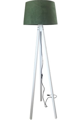 Düz 3 Ayaklı Lambader Yeşil Şapka Beyaz Ayak K163