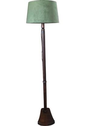 Masif Ayaklı Lambader Yeşil Şapka Ceviz Ayak K207