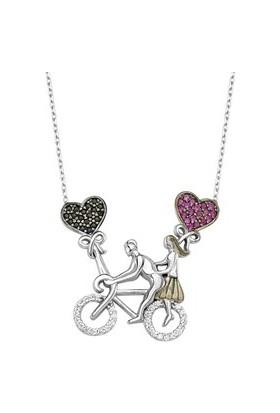 Nereze Bisikletli Aşıklar Kolye Bisiklet Kolye Bayan Gümüş Kolye