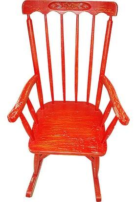Maxxdepo Little Rock Kırmızı Sallanan Sandalye