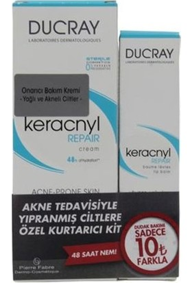Ducray Keracnyl Repair Cream 50 Ml + Ducray Keracnyl Repair Lip Balm 15 Ml