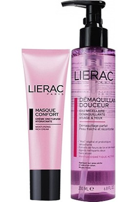 Lierac Masque Comfort Nemlendirici Maske 50 Ml+Demaquillant Douceur Cleansing Water Cilt Temizleme Suyu 200Ml