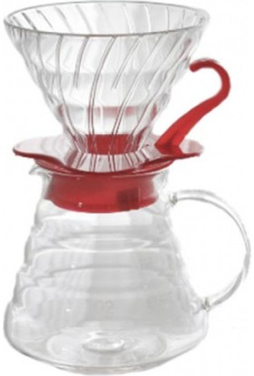 Hario V60 02 Cam Kahve Demleme Kiti - Kırmızı
