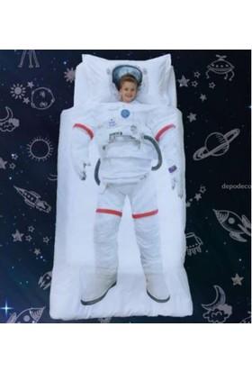 Özdilek Rf Tek Kişilik Nevresim Takımı Astronot Beyaz