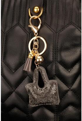 Morvizyon Siyah Parlak Taşlı Çanta Figürlü Anahtarlık