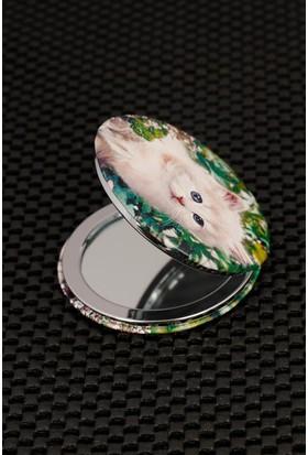 Morvizyon Beyaz Kedi Figürlü Cep Aynası Ayn145