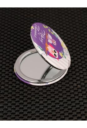 Morvizyon Çift Baykuş Figürlü Renkli Desenli Cep Aynası Ayn108