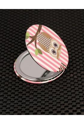 Morvizyon Çizgili Arka Plan Baykuş Figürlü Cep Aynası