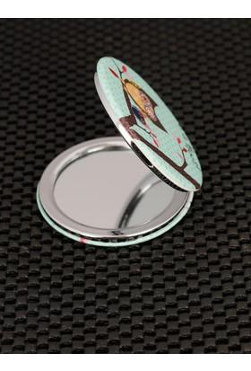 Morvizyon Desenli Mint Mavisi Renk Ve Baykuş Figürlü Cep Aynası