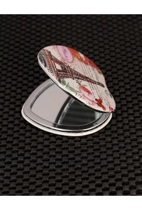 Morvizyon Paris Resimli Kalp Formlu Cep Aynası Ayn172