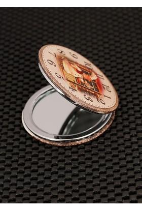 Morvizyon Saat Desenli Krem Renk Cep Aynası