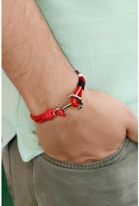 Morvizyon Kırmızı Deri Tasarım Çelik Aksesuar Detaylı Erkek Bileklik Eb750