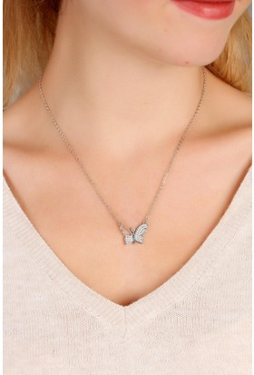 Morvizyon Gri Metal Zirkon Parlak Taşlı Kelebek Figürlü Bayan Kolye Bko1537